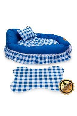 berco para cachorro xadrez tapete pet azul cbb1001 4