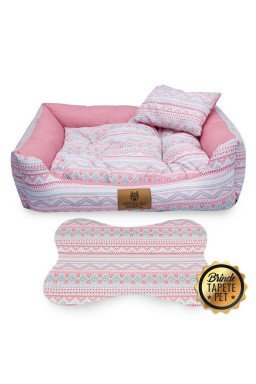 caminha para cachorro tapete pet geometrico rosa cs1036 4