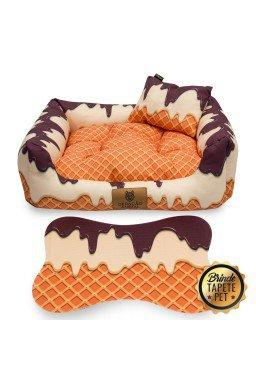 caminha para cachorro tapete pet sorvete bege marrom laranja cs1020 4
