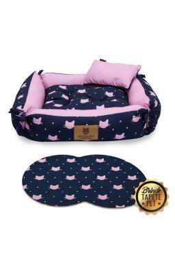 caminha dupla face tapete pet gato rosa azul cdf1018 5