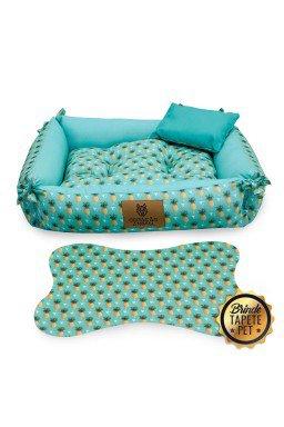caminha dupla face para cachorro tapete pet abacaxi azul cdf1003 5